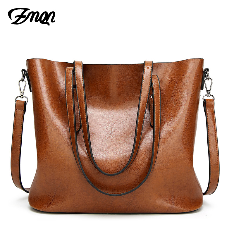 ZMQN Women Bag For Women Big Handbags Famous Brand Oil Wax Leather Retro Vintage Style Crossbody Women Bag Tote Outlet 2018 C814