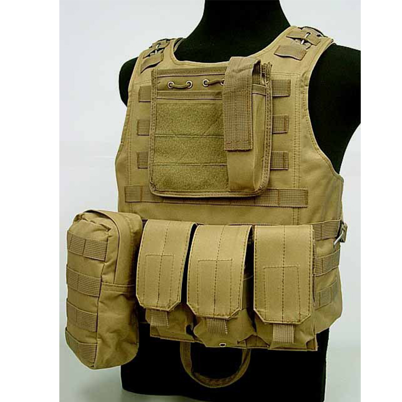 Tactical Amphibious Molle Camouflage Vest Military Combat Assault Plate Carrier Waistcoat Hunting Protection Armor Equipment Tan