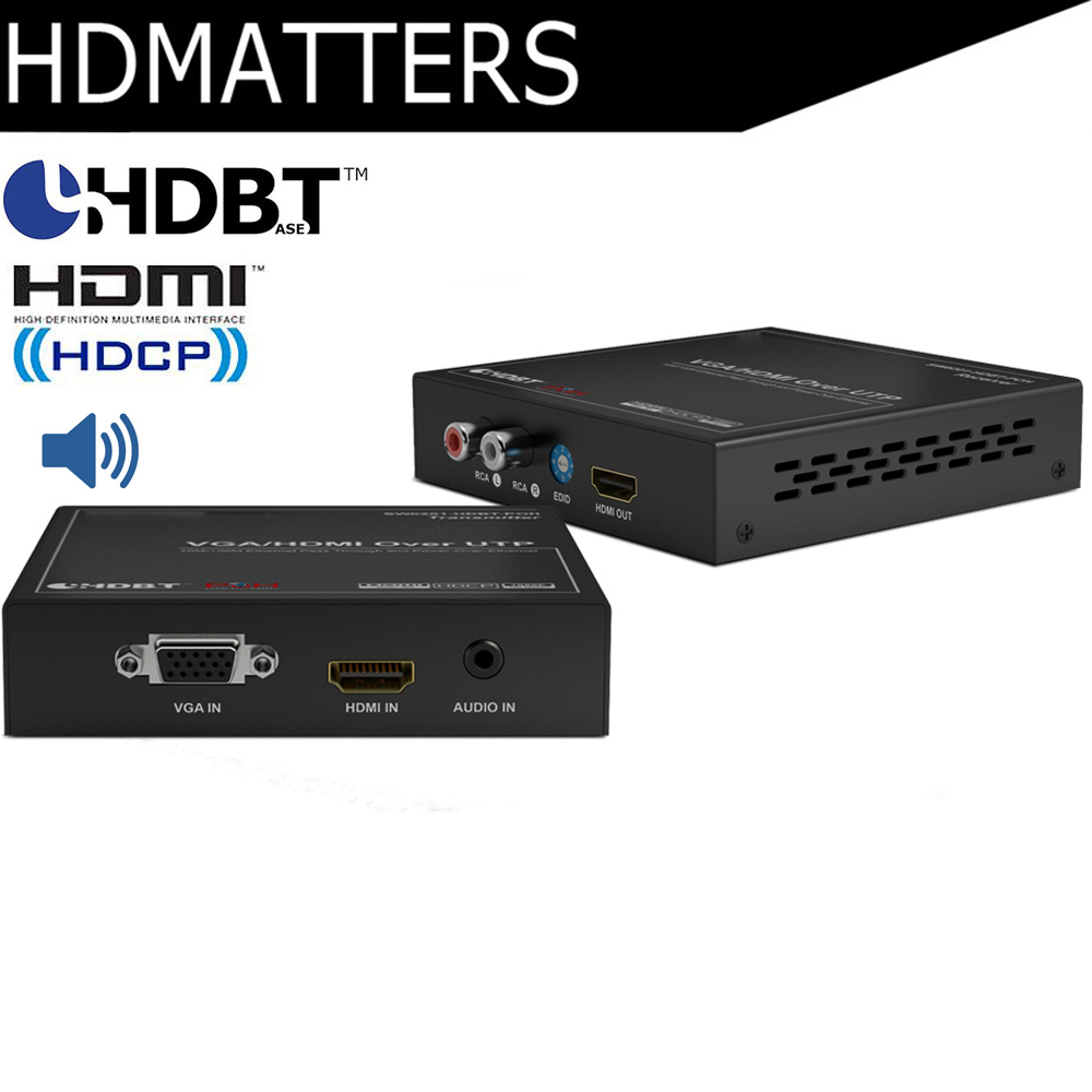 HDmatters Professional 2-in-1 VGA HDMI HDbaset HDMI extender with L/R stereo audio out PoH HDbaseT up to 100m