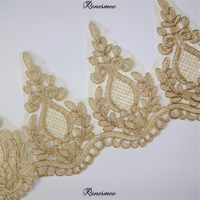 Hospitable 2yd Hot Sale Light Gold Mesh Lace Trim Applique Trimming Luxury Embroidery Light Gold Lace Fabric For Wedding Dresses 15cm Sx53 Apparel Sewing & Fabric Home & Garden