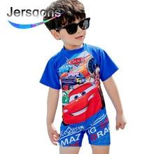 Jersqons UPF50+ 2018 New Swimwear Boys Short-sleeve Cartoon Children One Piece Swimsuit for Kids Swimming Suit Beach