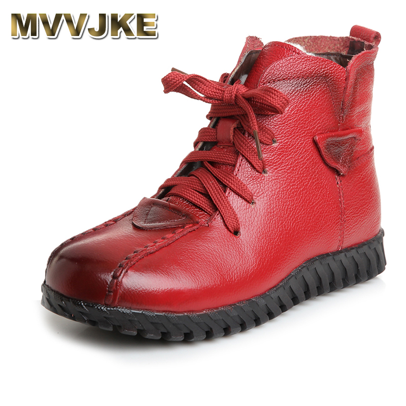 MVVJKE Winter Shoes Women Flats Ankle Boots Woman Fashion Genuine Leather Wedges Boots Mother Casual Non