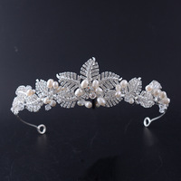 2017 New European And American Bride Crown Freshwater Pearl Handmade Headdress Wedding Crown Accessories Palm Leaf