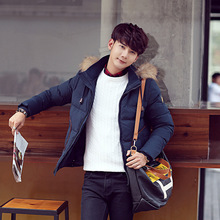 Korean men s hooded down jacket thick outwear Windbreaker parkas Windproof warm Jackets Down Coat parka