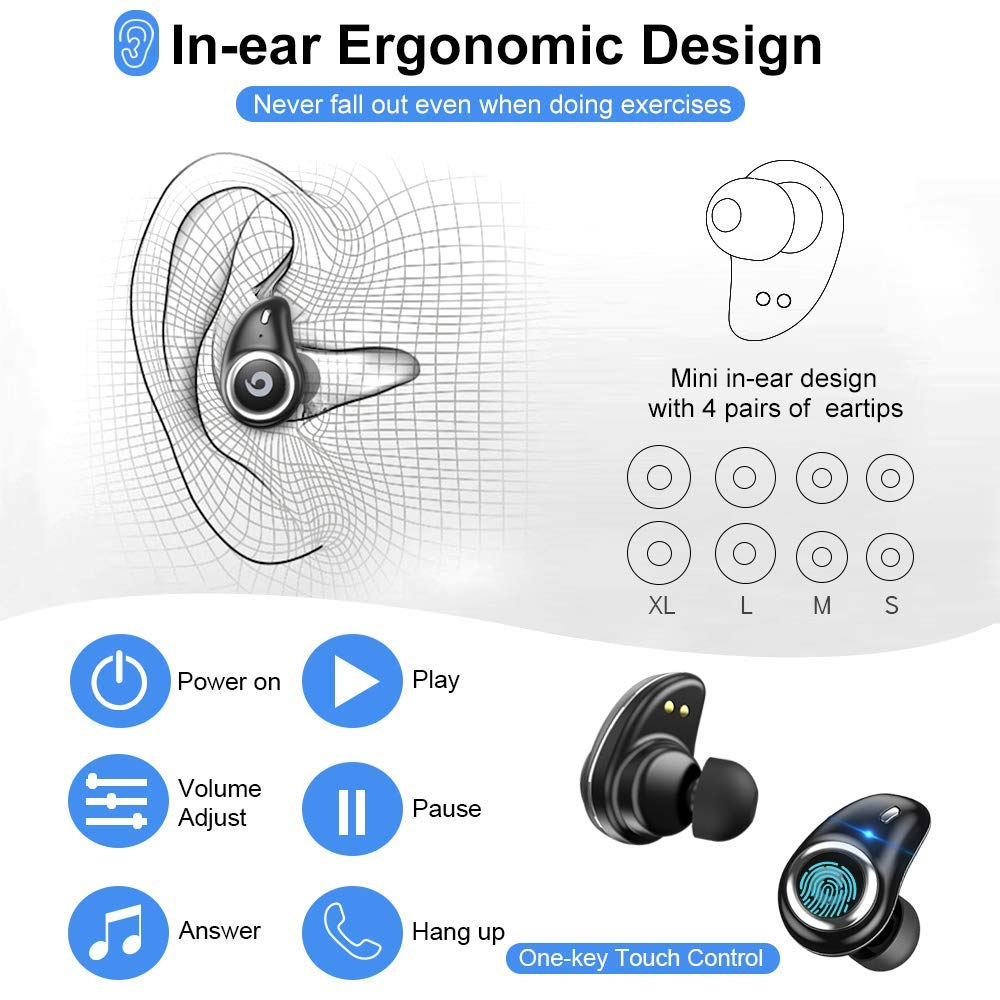 Image 5 - Bluetooth 5.0 Earphone True Wireless EarBuds IPX7 Waterproof Stereo Headset 2000mAh Power Bank Phone Charge For iPhone 6s 7 Sony-in Bluetooth Earphones & Headphones from Consumer Electronics