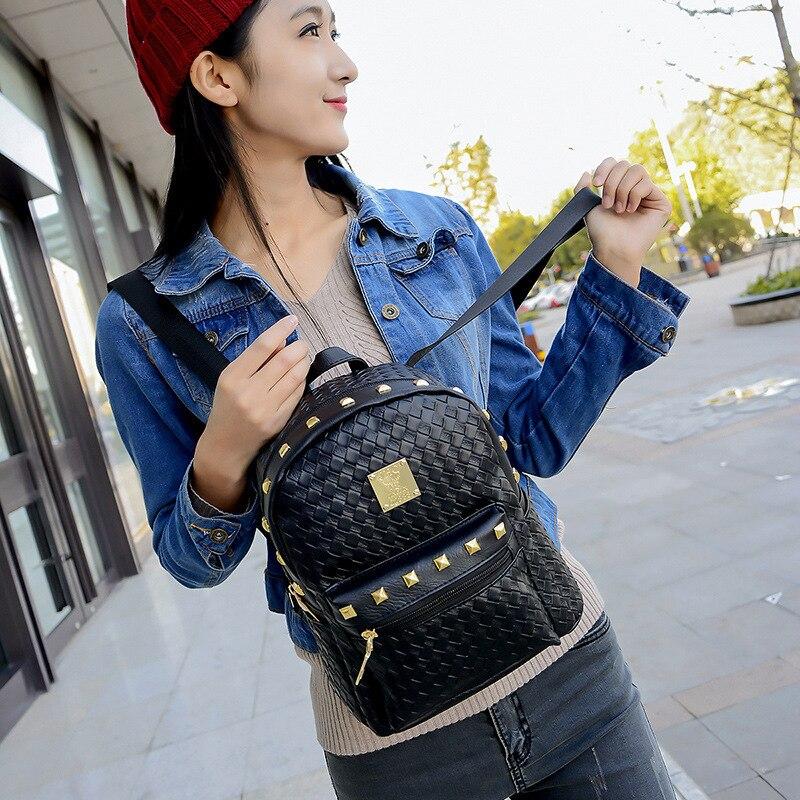 2017 Fashion Backpacks Women PU Leather School Bag Girls Female Black Colors Travel Shoulder Bags Waterproof
