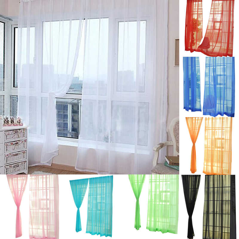 2pc Pure Color Tulle Curtain Door Window Curtain Drape Panel Sheer Scarf Valances Room Curtains For Modern Bedroom Living New