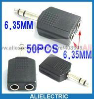 Plugue estéreo de 6.35 mm para 2 X 6.35 soquete Jack adaptador de áudio