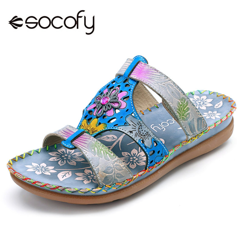 Socofy Bohemian Slippers Women Vintage Printed Genuine Leather Shoes Woman Beach Slippers Flat Heel Slides Summer Casual Shoes socofy bohemian genuine leather shoes women sandals vintage printing forest hook loop wedge heel women slippers summer new