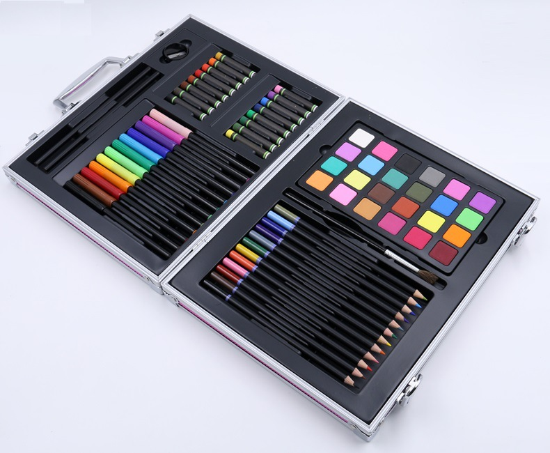 64pcs / set  kids gift educational drawing set with crayon brush sketch pencil Watercolors powder eraser gray/pink/black box64pcs / set  kids gift educational drawing set with crayon brush sketch pencil Watercolors powder eraser gray/pink/black box