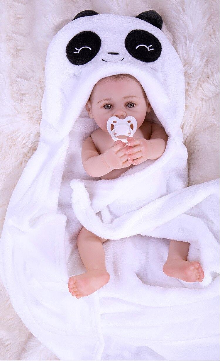 43cm Full Body Silicone Body Reborn Baby Girl Dolls white17'' Bebes Reborn panda Children Gifts toys Bonecas Juguetes Brinquedos