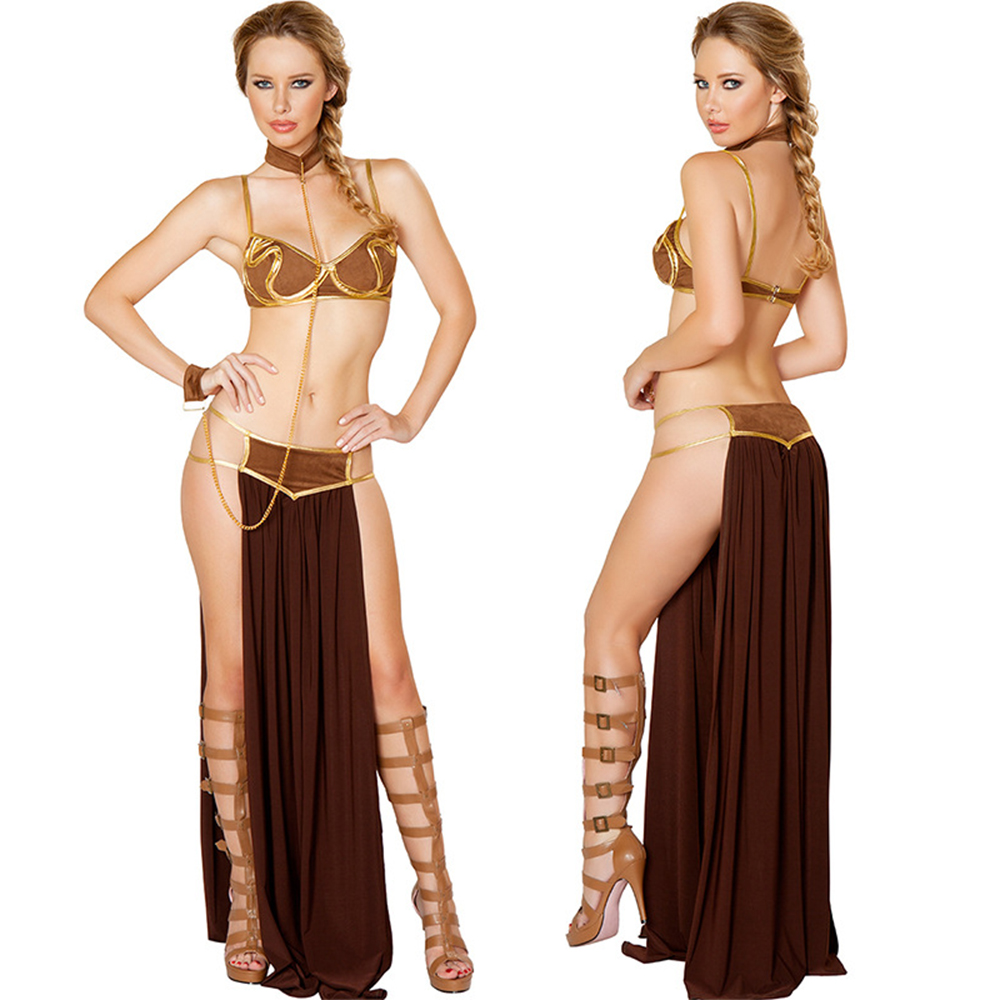 2018 Nuevo Carnaval Sexy Star Wars Cosplay Princesa Leia Slave Costume Dress Gold Bra and Neckchain