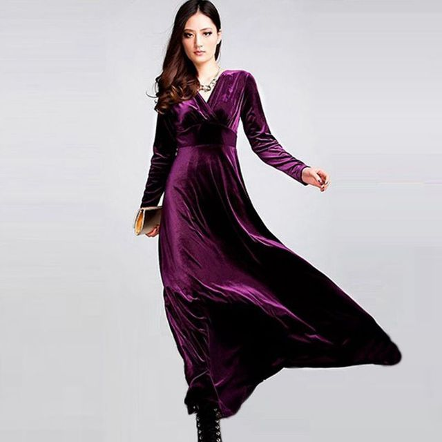 ce37510c70f Long Dress Plus Size S~3XL Women Winter Dresses Long Sleeve V Neck Maxi  Dress Velour Women Sexy Party Night Club Christmas Dress