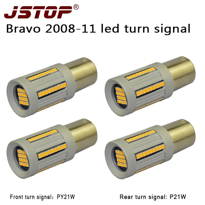 JSTOP 4PCS/set Bravo led front Rear Turn Signal PY21W 1156 12-24V Yellow led P21W bau15s No error car turn lights No Hyper Flash