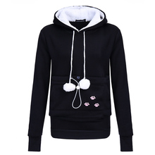 Drop Shipping Dog Pet Hoodies Tops Cat Lovers Hoodies With Cuddle Pouch For Casual Kangaroo Pullovers With Ears Sweatshirt XL