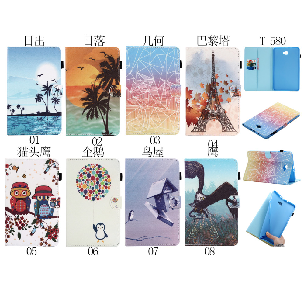 Ultra Slim Magnet Smart Sleep Print Stand PU Leather Cover Case For Samsung Galaxy Tab A 2016 T580 T585 SM-T585 SM-T580 Tablet fashion painted flip pu leather for samsung galaxy tab a 10 1 sm t580 t585 t580n 10 1 inch tablet smart case cover pen film
