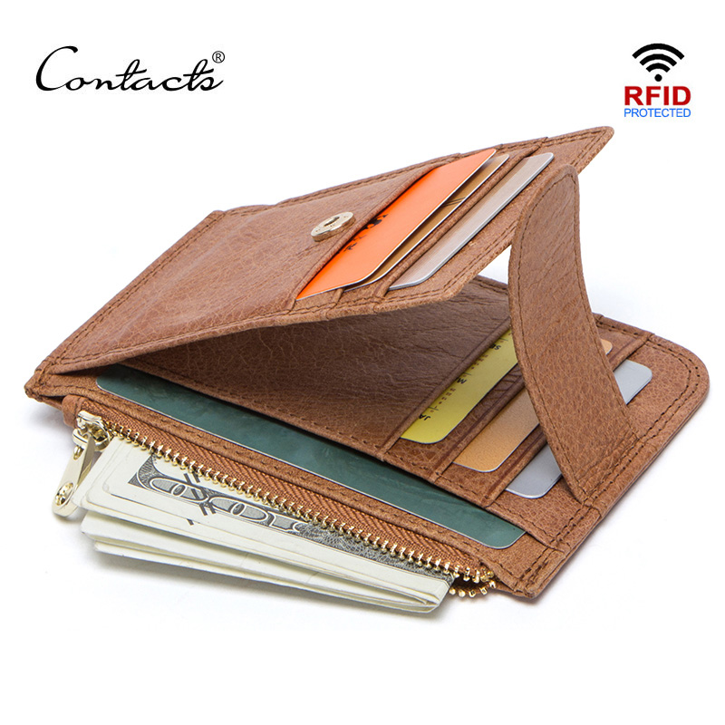 CONTACT'S 100% Genuine Leather New Men Card Wallet Thin Credit Card Holders Casual Man Wallets With Coin Pocket Male Mini Purse