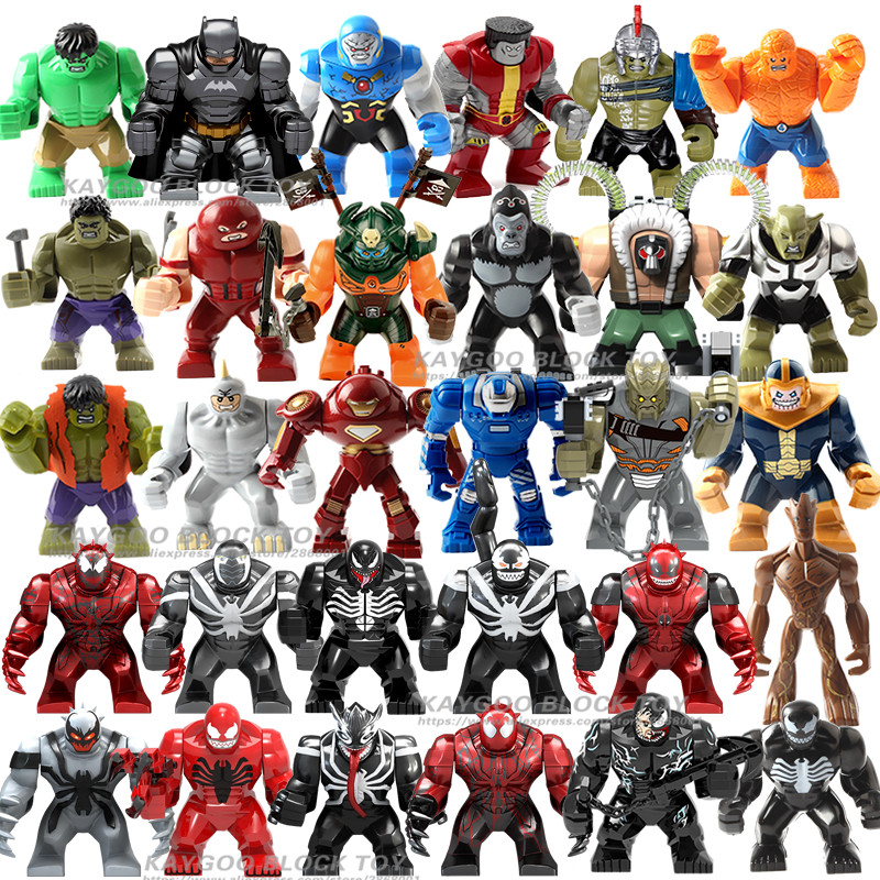 Big Thanos Large Anti Venom Carnage Iron Man Whiplash Hulk Buster Spider-Man Batman Building Block Figures Toy For Children(China)