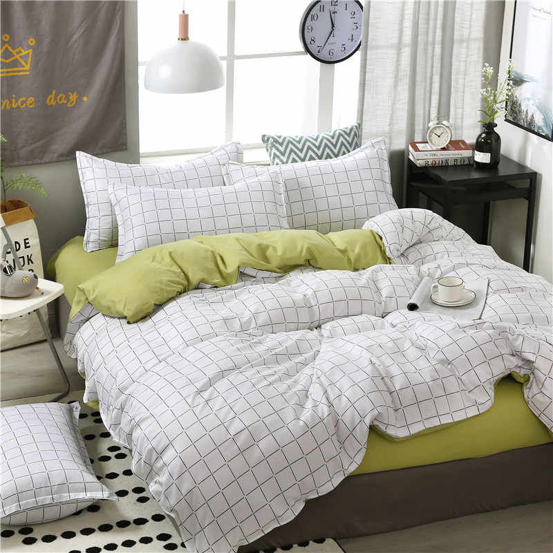 4pcs/set High Quality Comfortable White Green Stripe Family Bedding Set Bed Linings Duvet Cover Bed Sheet Pillowcases