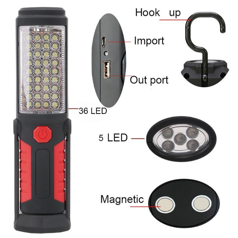 36 + 5LED de Pêche En Plein Air Lumière de Travail Magnétique Main Lampe D'urgence Lampe Torche Lampe D'inspection de Travail avec crochet aimant USB câble