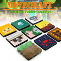 Newest 4 pcs/set 9sets/lot  Minecraft Creeper Rubber Coaster Model Steve Rubber Cup Coaster Christmas Birthday Party Decoration