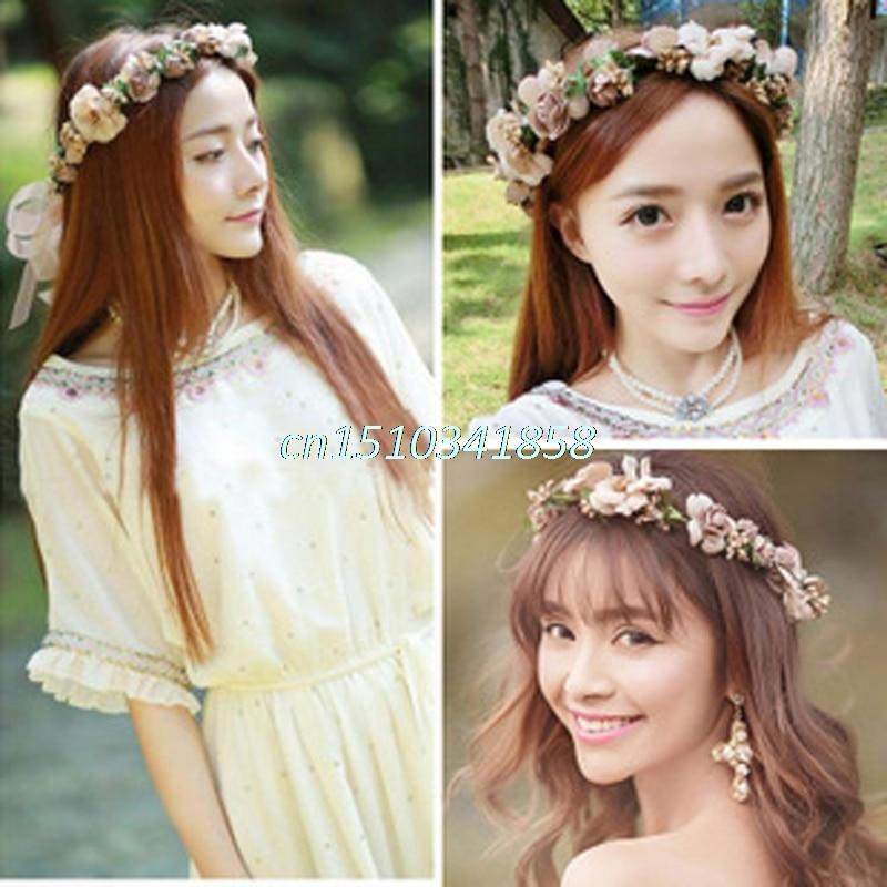 Fashion Women Wedding Flower Hair Garland Crown Headband Floral Wreath Hairband