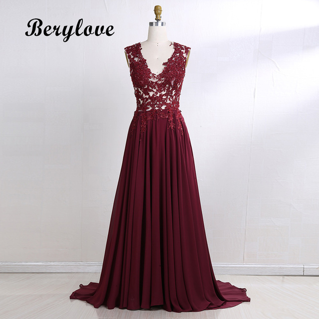 BeryLove Long Burgundy Evening Dresses 2018 Beaded Lace Evening Gowns  Illusion Formal Evening Dresses Plus Size Women Prom Dress af886a3a6740