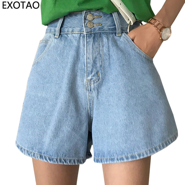 37dae3aeea EXOTAO Wide-Leg Jeans Shorts Women Two Buttons High Waist Denim Short Pants  Female Summer Loose Pantalones Cortos Casual Shorts