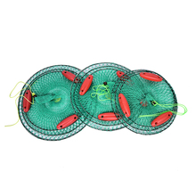 1 PCS Round Crab Fish Net Metal Frame Nylon Mesh Foldable Fishing Net 3 layer with 3 Floating Crab Fish Care Fishing Net