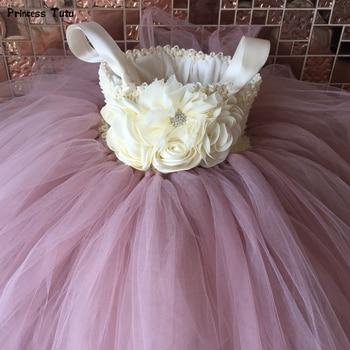 Flower Girl Tutu Dress Ankle-Length Princess Tulle Kids Tutu Dresses for Girls Wedding Party Dress Children Pageant Ball Gowns