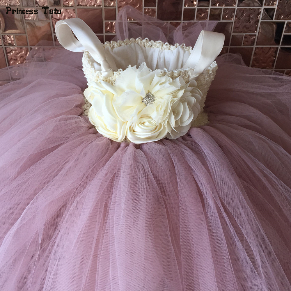Flower Girl Tutu Dress Ankle Length Princess Tulle Kids Tutu Dresses for Girls Wedding Party Dress Children Pageant Ball Gowns