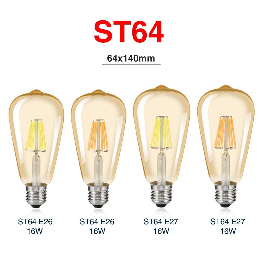 TSLEEN Classical Edison E27 Dimmable Filament LED Bulbs ST64 Gold/Transperent Glass Bar Shops Home Living Room Light