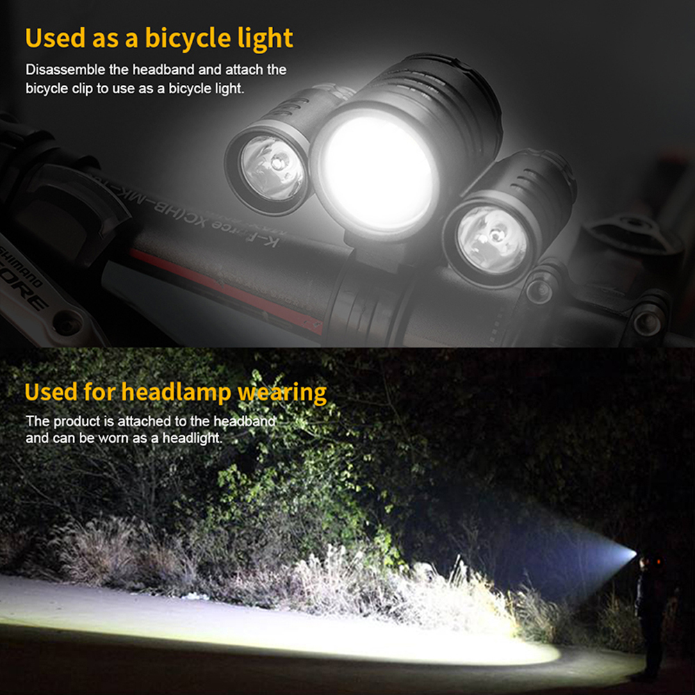 BORUiT LED Headlamp Bicycle light 3-Mode IPX5 Headlight RJ-1156 XML L2 green LED Cycling Light Head Torch Out Door light Frontal (13)