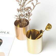 Rose Gold Stainless Steel Cylinder Pen Holder for Desk Organizer Stand Multi Use Pencil Pot Office Decor Supplies Europe Pot Cup