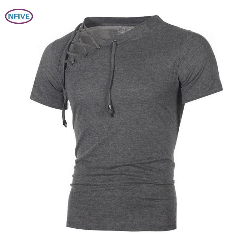 NFIVE Brand 2018 Man Slim Solid Shirts New Fashion Europe And America Spring Summer Shirt Quality Tie Short Sleeved T-shirt