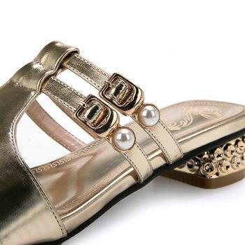 Sandales à Glissière D'or | Mode Féminine Extérieur Diapositives Sexy Chaîne Perle Boucle Talons Bas Sandales D'été Décontractées Grande Taille 43 Or Argent