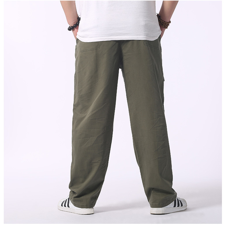 Man Loose Fitting Cargo Pants Yellow Black Gray Khaki  Overall For Mens Cotton Comfort Trousers Elastic Waist Pant American Apparel (9)