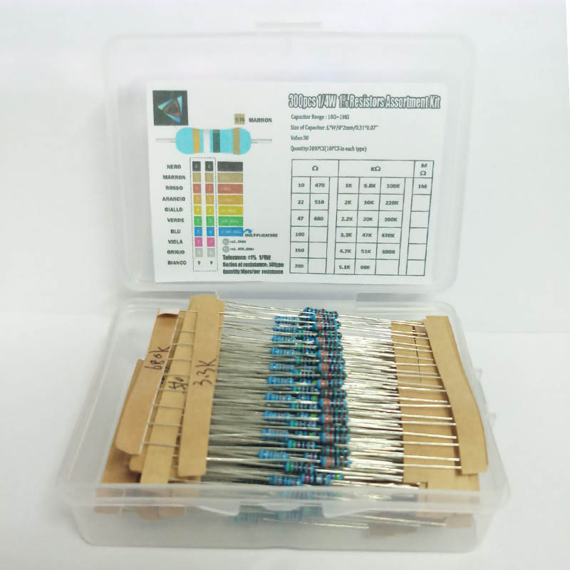 1 Box 300Pcs 10 -1M Ohm 1/4w Resistance 1% Metal Film Resistor Resistance Assortment Kit Set 30 Kinds Each 10pcs