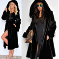 Abrigo con capucha Gruesa Capa de Piel Caliente de Las Mujeres de Calidad de Lujo Del Conejo Del Faux Fur Coat con cinturón Parka Moda largo jackt