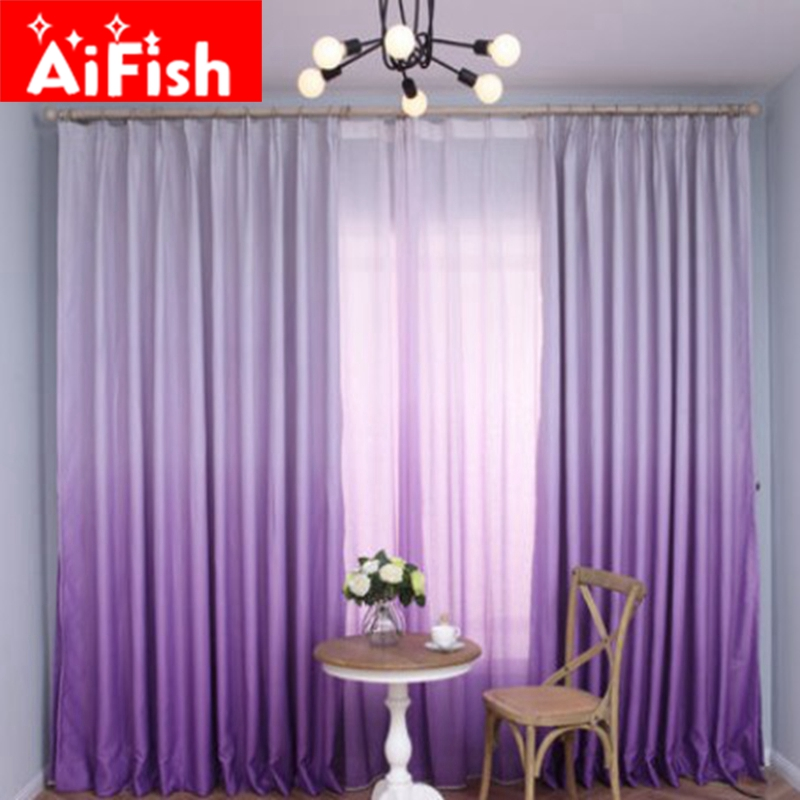 Purple Gradient Shade Curtains For Living Room Romantic Wedding Room Pink  Bedroom Tulle Solid Gradient Shade Fabric DF007 30