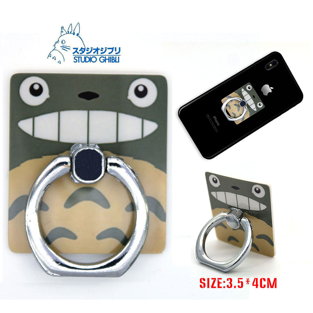 OHCOMICS Anime My Neighour Totoro Totoro Square Cartoon Ring Stand Mount Holder Mobile Phone Paste Stents Costume Ornament Gift