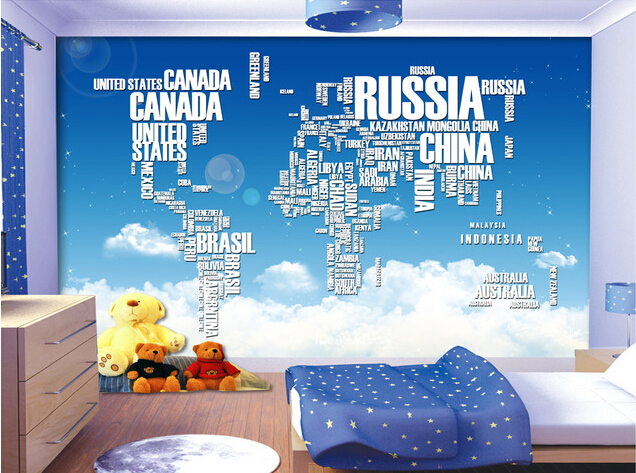 Custom 3D murals,The blue sky white clouds the sky map state name in English,living room sofa TV wall children bedroom wallpaper