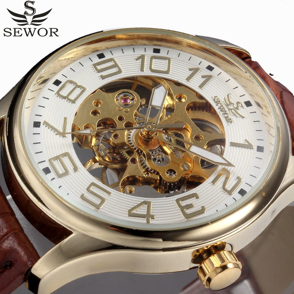 SEWOR Luxury Top Brand Gold Skeleton Mechanical Watch Men Leather Men Watches Dress Male Wristwatches Relogio Masculino sewor toubillon mechanical watch men gold genuine leather strap luxury automatic watches men clock male monphase wristwatches