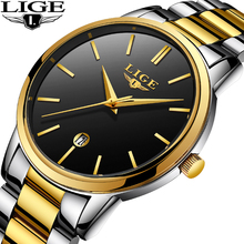 LIGE Men's Watch Top Luxury Brand Casual Fashion Military Waterproof Stainless S