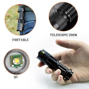 Image 3 - Drop Shipper Promotion Set! LED Flashlight T6 Tactical Flash Light + Q5 Mini Torch Lanterna Zoomable Waterproof Flashlight Bike