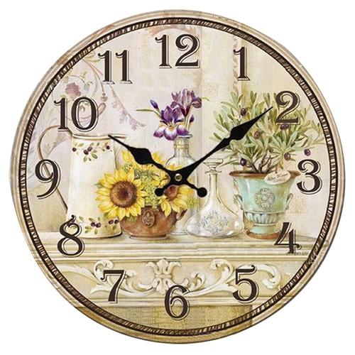 Beau PHFU Vintage Antique Style 34cm Wall Clock Home Bedroom Retro Kitchen  Quartz (Pattern:sunflower