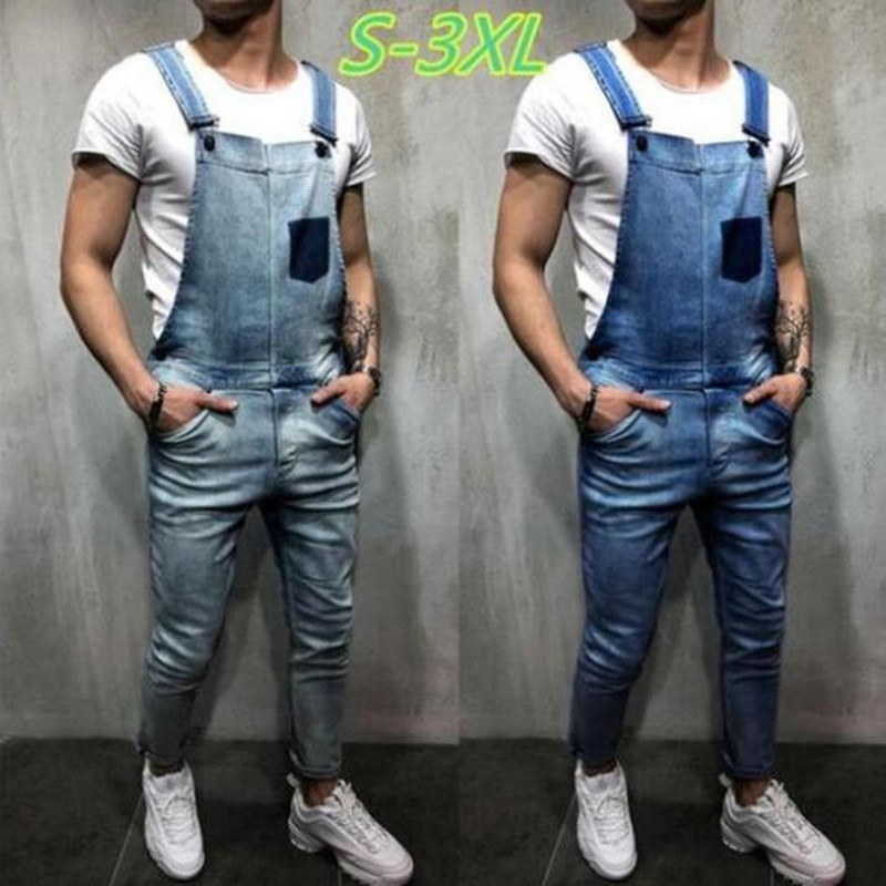 Men's Ripped Jeans Jumpsuits Fashion Streetwear Denim Rompers Casual Overalls Male Long Pants Outfit Clothes 2020 New Plus Size