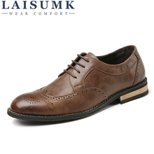 LAISUMK Men Genuine Leather Shoes Breathable Dress Business Shoes Man High Quality Flat Shoes Fashion Lace Up Men Shoes Oxfords цена 2017