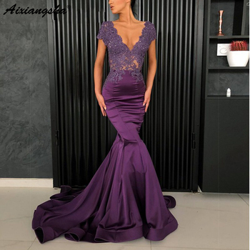 Aullring Evening Dress 2019 Long Mermaid Sexy Deep V Neck Lace Appliques Beaded Cap Sleeves Arabic Formal Plus Size Gowns