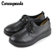 Careaymade-2019 spring new soft leather strap casual shoes, comfortable  round head Martin genuine flat shoes.
